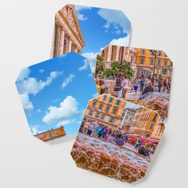 People in Nice Plaza with Fountain Coaster