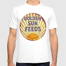 Golden Sun Feeds MEDIUM White Mens Fitted Tee