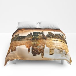 nyc skyline at dusk Comforters