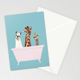 Playful Gangs in Bathtub Blue Stationery Cards