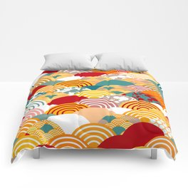 Nature background with japanese sakura flower, orange red pink Cherry, wave circle pattern Comforters