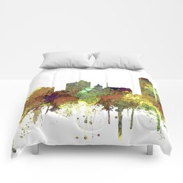 Milwaukee, Wisconson Skyline SG - Safari Buff Comforters