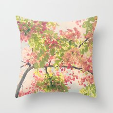 Pink Shower Tree Throw Pillow