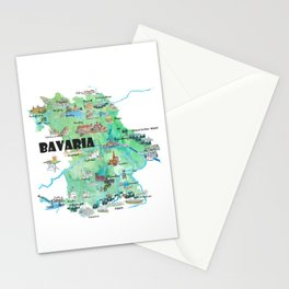 Bavaria Germany Illustrated Travel Poster Map Stationery Cards