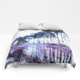 Monet : Poplars Lavender Periwinkle Deep Blue Comforters