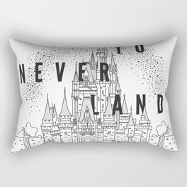 Off to Neverland: Black & White Rectangular Pillow