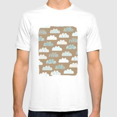 clouds pattern Mens Fitted Tee White MEDIUM