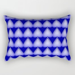 Pattern of white hearts and blue flowers on the sea background. Rectangular Pillow