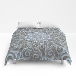 Light Blue Center Swirl Mandala Comforters