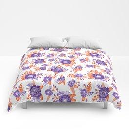 University football fan alumni clemson orange and purple floral flowers gifts Comforters