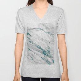 Gray Marble Aqua Teal Metallic Glitter Foil Style Unisex V-Neck