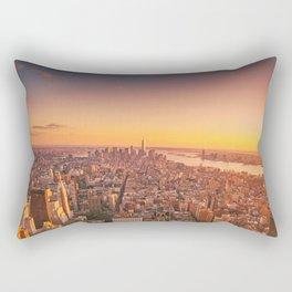 New York City Sunset Skyline Rectangular Pillow