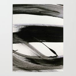 Brushstroke 9: a bold, minimal, black and white abstract piece Poster