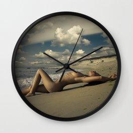 Fine Art Nude Print, Woman on the beach, Nudity, Sexy Classic, Na Wall Clock