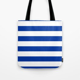 Dark Princess Blue and White Wide Horizontal Cabana Tent Stripe Tote Bag