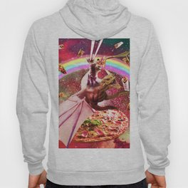 Laser Eyes Outer Space Cat Riding Dragon Hoody