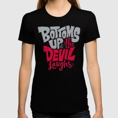 Bottoms Up & The Devil Laughs X-LARGE Womens Fitted Tee Black