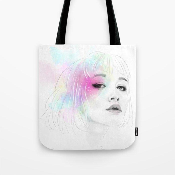 Pastel glowing Girl digital portrait Tote Bag