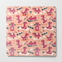 Fitness exercises for a dino // coral background red t-rex dinosaurs Metal Print