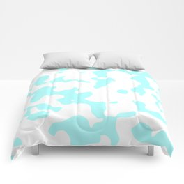 Large Spots - White and Celeste Cyan Comforters