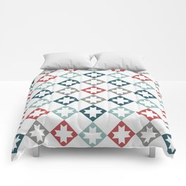 Modern Farmhouse Quilt Pattern Vintage Inspired NorthStar and Diamond Harlequin Print Comforters