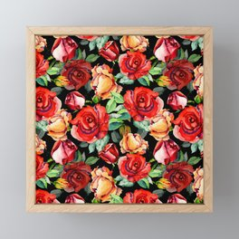 Hand painted black red watercolor roses floral Framed Mini Art Print