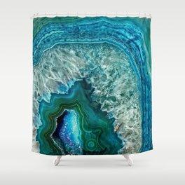 Aqua turquoise agate mineral gem stone - Beautiful Backdrop Shower Curtain