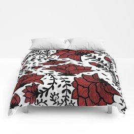 Red Flower Garden Comforters