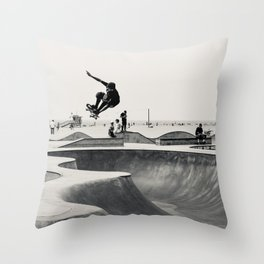 Skateboarding Print Venice Beach Skate Park LA Throw Pillow