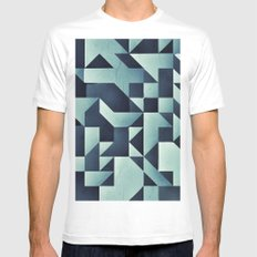 :: geometric maze V :: White Mens Fitted Tee MEDIUM