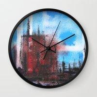 cityscape Wall Clocks featuring Cityscape by Alfred Raggatt