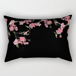 Cherry Flowers with black background Rectangular Pillow