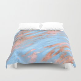 Sky Blue Marble With Rich Rose-Gold Veins Duvet Cover