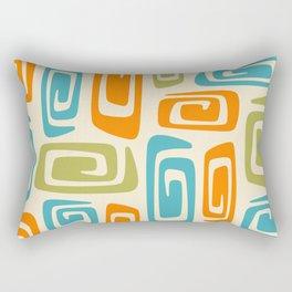 Mid Century Modern Cosmic Abstract 738 Orange Blue and Green Rectangular Pillow