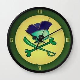 green pirate skull Wall Clock