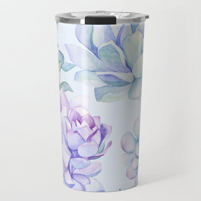 Wonderful Succulents Light Blue Travel Mug