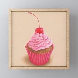 Pink cupcake colored pencil realistic drawing Framed Mini Art Print