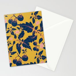 Tomatos and beetles - Pantone palete - yellow, blue, coral and gray Stationery Cards