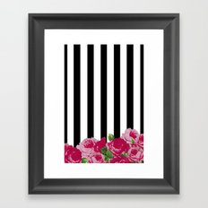 Bold Stripes with Flowers Framed Art Print