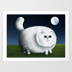Fat Cat Looks at the Moon Art Print