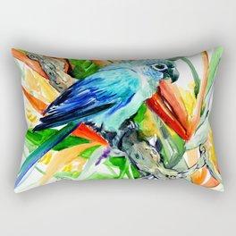 Parrot and Tropical Foliage Jungle floral design Rectangular Pillow