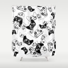 Video Game Black on White Shower Curtain