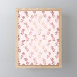Rose Gold Pineapple Pattern Framed Mini Art Print