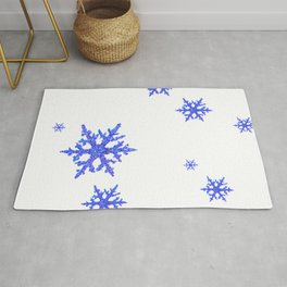 DECORATIVE WINTER WHITE SNOWFLAKES Rug