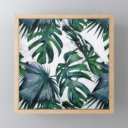 Tropical Palm Leaves Classic on Marble Framed Mini Art Print