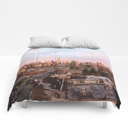 Manhattan City Skyline from Queens at Sunrise Comforters