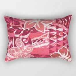 Red Hibiscus Polynesian Tapa Rectangular Pillow