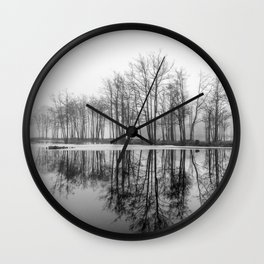 Winter reflection of trees Wall Clock