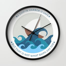 Inspirational round print with a ship in the sea Wall Clock