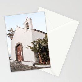 White Tropical Church Art Print | Canary Islands Tenerife Summer Photo | Spain Travel Photography Stationery Cards